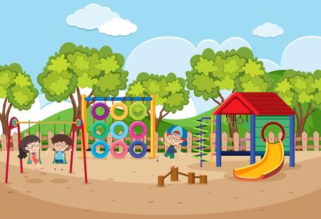 Children playing in playground at daytime illustration