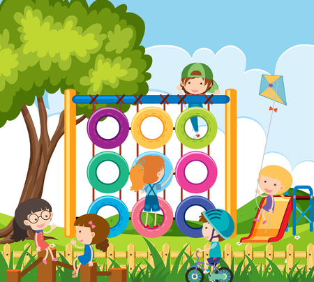 Many children playing in the playground illustration