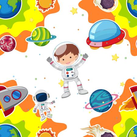 Volo dell'astronauta nell'illustrazione dello spazio