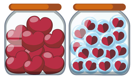 Two jars full of heart shapes illustration