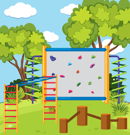 Monkey bar and climbing wall in the playground illustration