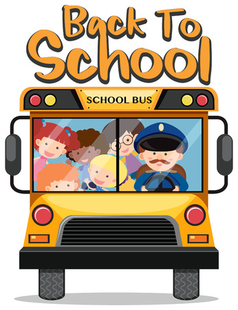 Back to school theme with kids on school bus illustration
