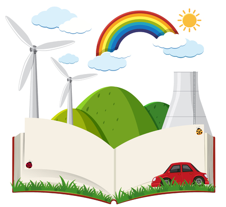Book template with wind turbines and car illustration