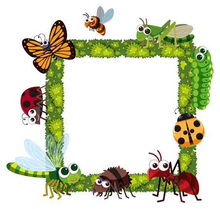 Grass frame with many insects illustration.