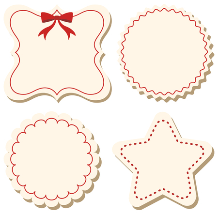 Four label templates with red border illustration
