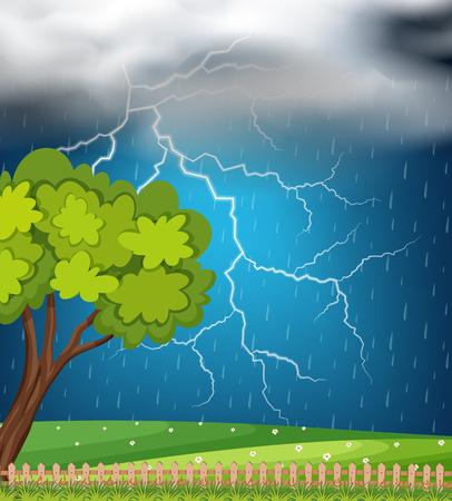 Achtergrondscène met donder en stortbuiillustratie Vector Illustratie
