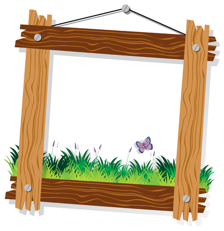 Wooden frame template with green grass and butterfly illustration