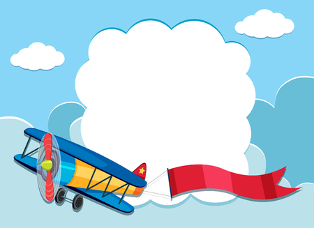 Border template with airplane in the sky illustration