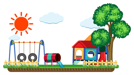 Scene with swing and playhouse illustration Illustration