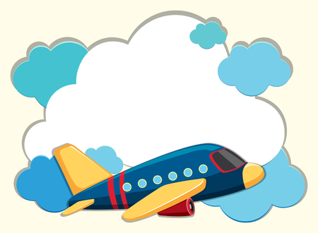 Cloud border with blue airplane illustration