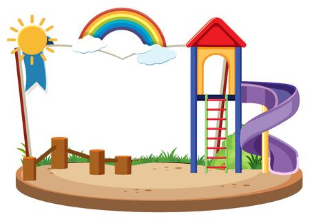 Book template with slide in the playground illustration