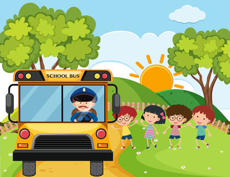 School bus with kids and driver on the hills illustration