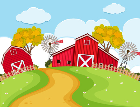 Farm scene with red barns and turbines illustration