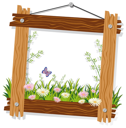 Wooden frame template with flowers and grass illustration Çizim
