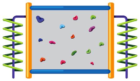 Rock climbing wall on white background illustration Illustration
