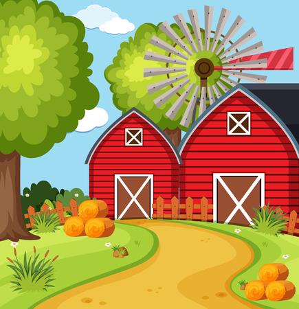 Big barns in the farmyard illustration
