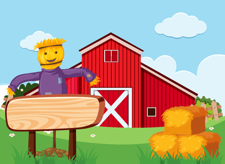Scarecrow and wooden sign in the farm illustration