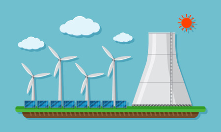 Field with wind turbines and silo illustration