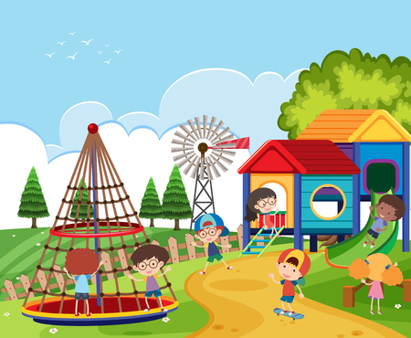 Scene with kids playing in the playground illustration