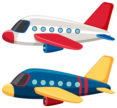 Two airplanes with blue and white colors illustration
