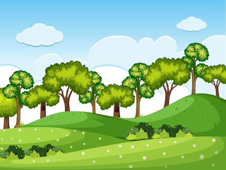 Forrest scene with trees on the hills illustration