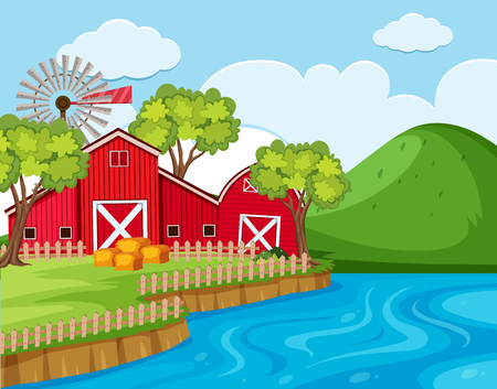 Farm scene with river and mountain illustration