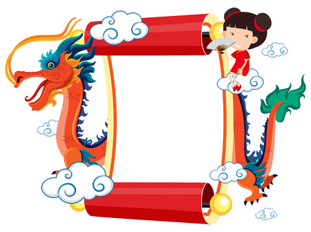 Paper template with chinese dragon and girl illustration
