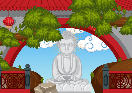 壁イラストの後ろの仏像