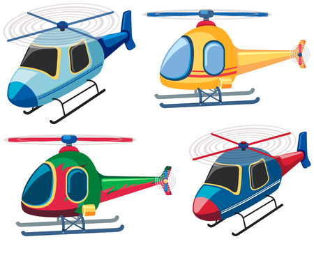 Four designs of helicopters illustration