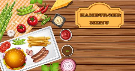 Hamburger menu background template illustration