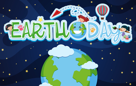 Earthday poster design with kids and earth illustration