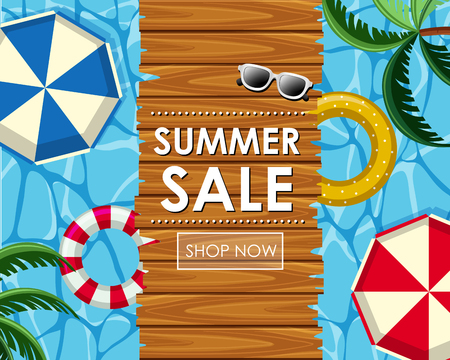 Summer sale poster design with floats and pool view illustration