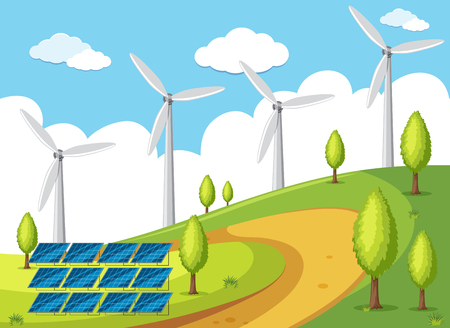 Wind turbines and solarcell on the hills illustration