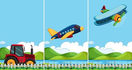 Three scenes with different types of transportation illustration