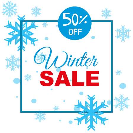 Winter sale background template with snowflakes illustration