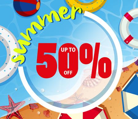 Background design for summer sale illustration