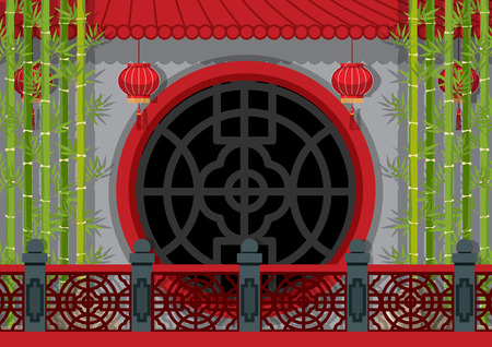 Background theme with chinese wall and bamboo illustration Çizim