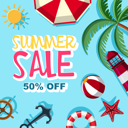 Summer sale 50 percent off poster design illustration Illustration