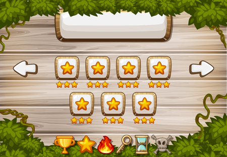 Game background template with wooden board and star buttons illustration