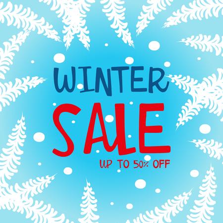 Winter sale up to 50 percent poster design illustration