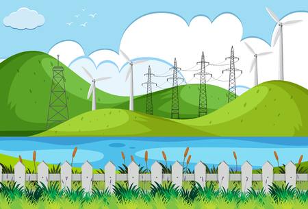 Wind turbines on green hills illustration Stock Illustratie