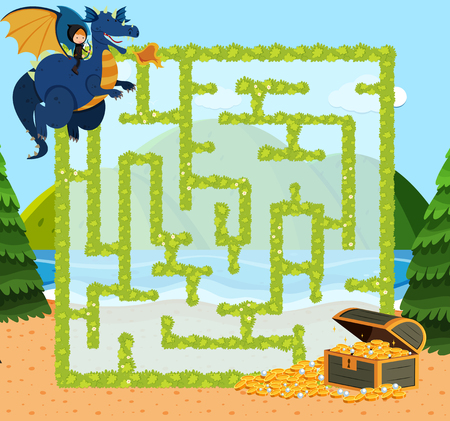 Maze game template with dragon and gold illustration Stock Illustratie