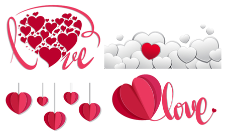 Red and white hearts background design illustration