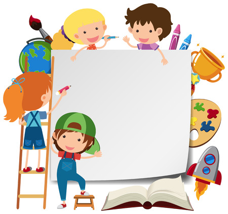 Border template with many kids  illustration