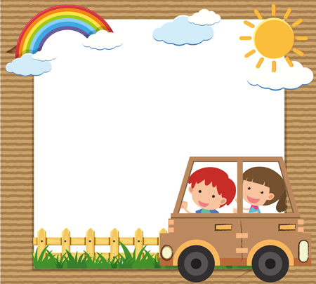 Border template with kids driving car illustration Illustration