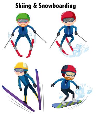 People playing ski and snowboarding illustration