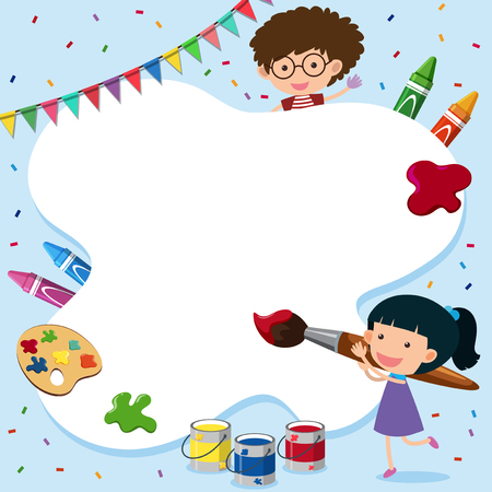 Border template with kid and painting tools illustration