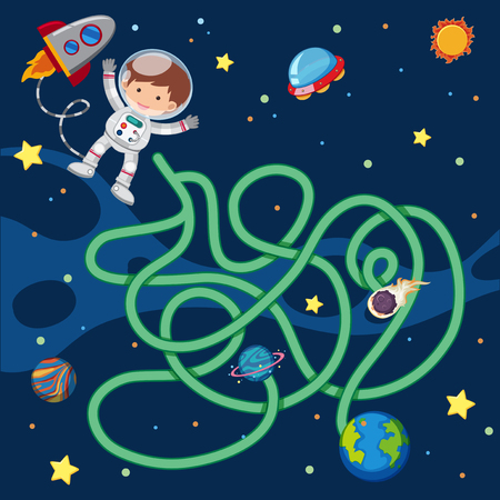 Puzzle game template with astronaut flying in space illustration Vectores