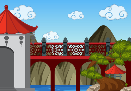 Background scene with bridge and tower in chinese style illustration Stock Illustratie
