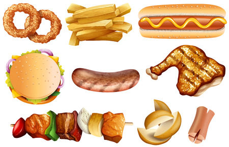 Different types of food on white background illustration